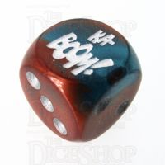 Chessex Gemini Copper & Teal KA-BOOM! Logo D6 Spot Dice