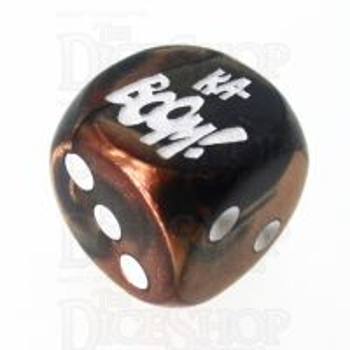 Chessex Gemini Black & Copper KA-BOOM! Logo D6 Spot Dice