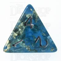 TDSO Confetti Teal & Gold D4 Dice