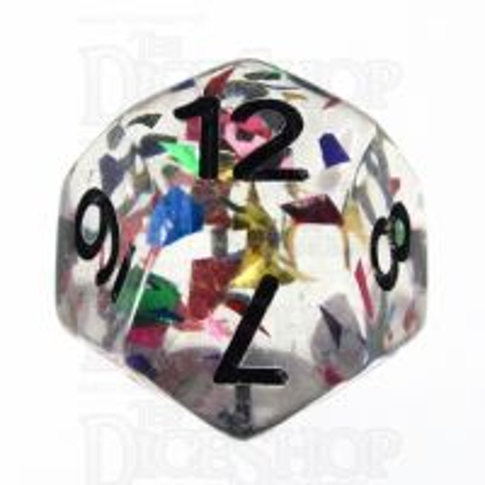 TDSO Confetti Rainbow & Black D12 Dice