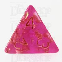 TDSO Confetti Hot Pink & Gold D4 Dice
