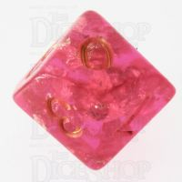 TDSO Confetti Hot Pink & Gold D10 Dice