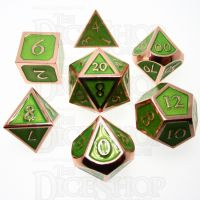 TDSO Metal Script Copper & Light Green 7 Dice Polyset