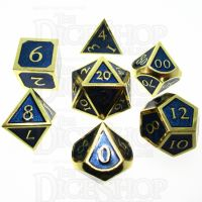 TDSO Metal Script Gold & Blue 7 Dice Polyset