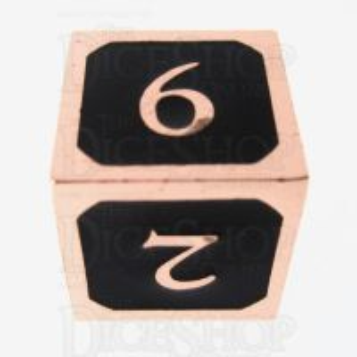 TDSO Metal Script Copper & Black D6 Dice