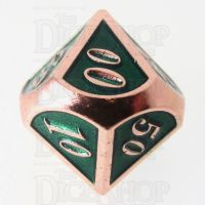 TDSO Metal Script Copper & Dark Green Shimmer Percentile Dice