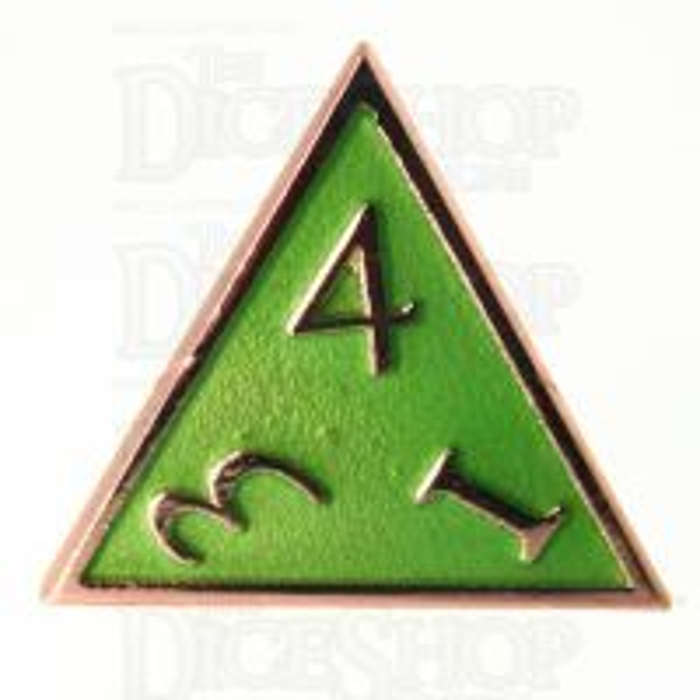 TDSO Metal Script Copper & Light Green D4 Dice
