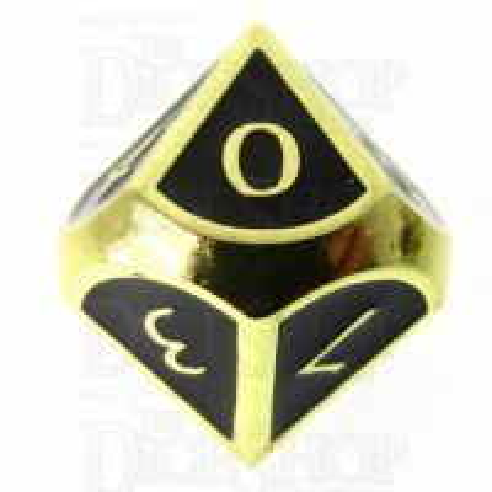 TDSO Metal Script Gold & Black D10 Dice