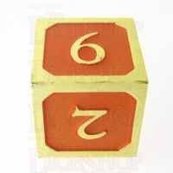 TDSO Metal Script Gold & Orange D6 Dice