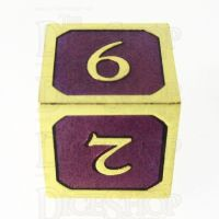 TDSO Metal Script Gold & Purple D6 Dice