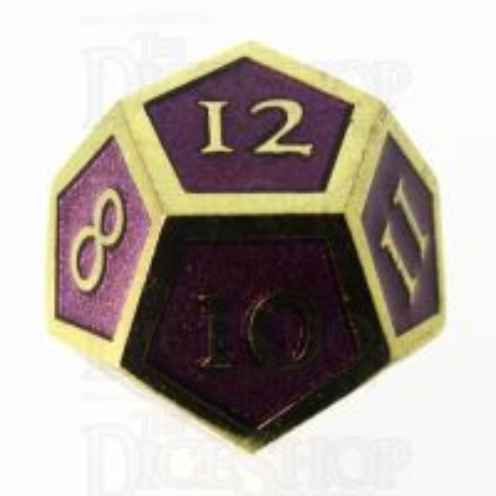 TDSO Metal Script Gold & Purple D12 Dice
