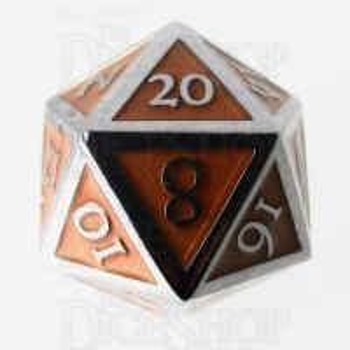 TDSO Metal Script Silver & Orange D20 Dice