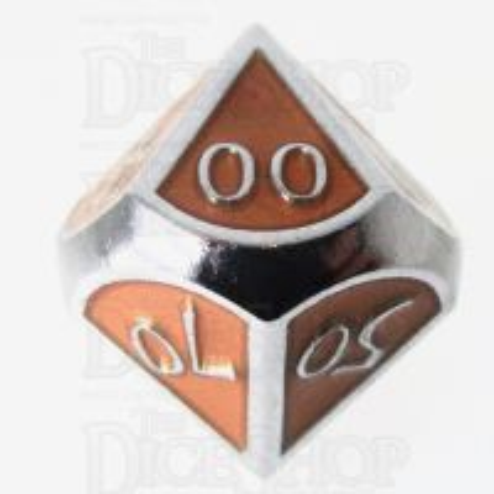 TDSO Metal Script Silver & Orange Percentile Dice