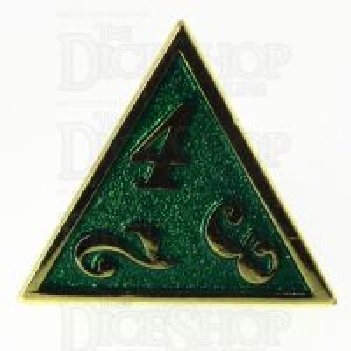 TDSO Metal Script Gold & Dark Green Shimmer D4 Dice