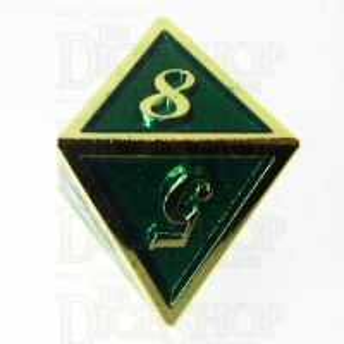 TDSO Metal Script Gold & Dark Green Shimmer D8 Dice