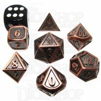 TDSO Metal Fire Forge Antique Copper MINI 12mm 7 Dice Polyset