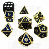 TDSO Metal Fire Forge Gold & Blue MINI 12mm 7 Dice Polyset