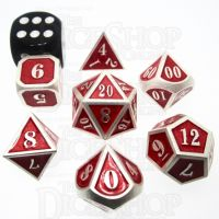 TDSO Metal Fire Forge Silver & Red MINI 12mm 7 Dice Polyset