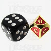 TDSO Metal Fire Forge Gold & Red MINI 12mm D10 Dice