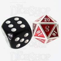 TDSO Metal Fire Forge Silver & Red MINI 12mm D20 Dice