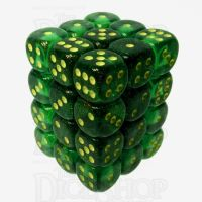 Chessex Borealis Maple Green & Yellow 36 x D6 Dice Set