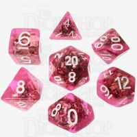TDSO Confetti Pink & Silver 7 Dice Polyset