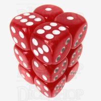 TDSO Pearl Red & White 12 x D6 Dice Set