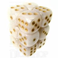 TDSO Pearl White & Gold 12 x D6 Dice Set