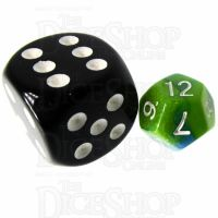 TDSO Duel Turquoise Blue & Pistachio Green MINI 10mm D12 Dice