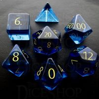 TDSO Zircon Glass Sapphire with Engraved Numbers 16mm Precious Gem 7 Dice Polyset