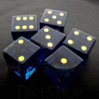 TDSO Zircon Glass Sapphire with Engraved Numbers 16mm Precious Gem  6 x D6 Dice Set