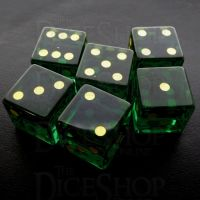 TDSO Zircon Glass Emerald with Engraved Numbers 16mm Precious Gem  6 x D6 Dice Set