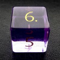 TDSO Zircon Glass Amethyst with Engraved Numbers 16mm Precious Gem D6 Dice