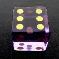 TDSO Zircon Glass Amethyst with Engraved Numbers 16mm Precious Gem D6 Spot Dice