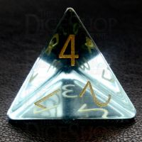 TDSO Zircon Glass Aquamarine with Engraved Numbers 16mm Precious Gem D4 Dice