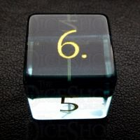 TDSO Zircon Glass Aquamarine with Engraved Numbers 16mm Precious Gem D6 Dice