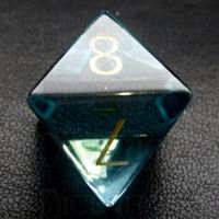 TDSO Zircon Glass Aquamarine with Engraved Numbers 16mm Precious Gem D8 Dice