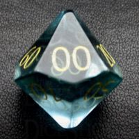 TDSO Zircon Glass Aquamarine with Engraved Numbers 16mm Precious Gem Percentile Dice