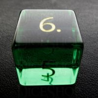 TDSO Zircon Glass Emerald with Engraved Numbers 16mm Precious Gem D6 Dice