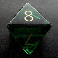 TDSO Zircon Glass Emerald with Engraved Numbers 16mm Precious Gem D8 Dice
