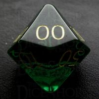 TDSO Zircon Glass Emerald with Engraved Numbers 16mm Precious Gem Percentile Dice