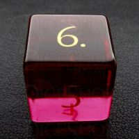 TDSO Zircon Glass Ruby with Engraved Numbers 16mm Precious Gem D6 Dice