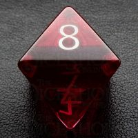 TDSO Zircon Glass Ruby with Engraved Numbers 16mm Precious Gem D8 Dice