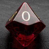 TDSO Zircon Glass Ruby with Engraved Numbers 16mm Precious Gem D10 Dice