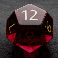 TDSO Zircon Glass Ruby with Engraved Numbers 16mm Precious Gem D12 Dice