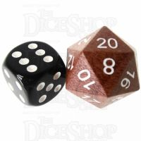 TDSO Red Sandalwood Wooden D20 Dice - Large Inked