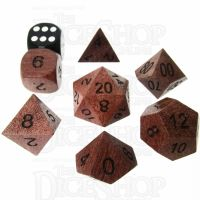 TDSO Purple Heart Wooden 7 Dice Polyset - Large