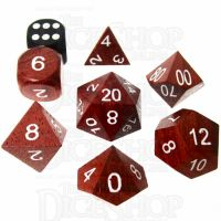 TDSO Red Wood Wooden 7 Dice Polyset - Large Ink