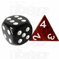 TDSO Red Wood Wooden D4 Dice - Large Ink