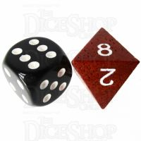 TDSO Red Wood Wooden D8 Dice - Large Ink